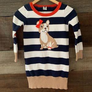 GYMBOREE Girl's Navy Striped Puppy Sweater Dress